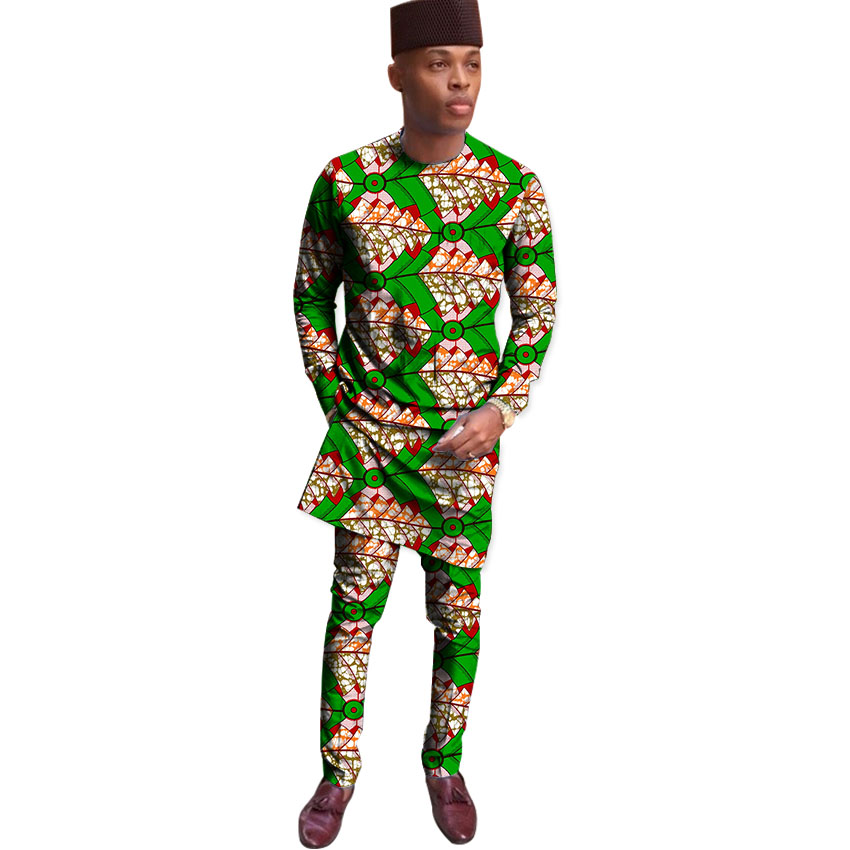 African Print Tops With Trousers Mens Set Africa Clothing Men Dashiki Suit Male Wedding Wear Kitenge Outfit