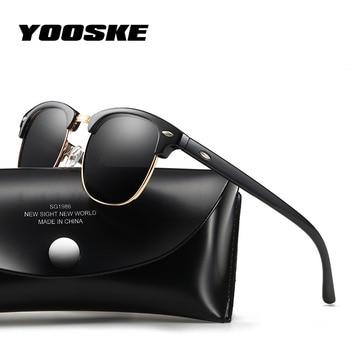 YOOSKE 2020 Polarized Sunglasses Women Men Classic Brand Designer Vintage Square Sun Glasses Driving Mirror UV400