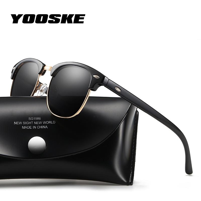 YOOSKE Retro Polarized Sunglasses Women Men Classic Brand Designer Vintage Square Sun Glasses Driving Mirror UV400 Eyeglasses