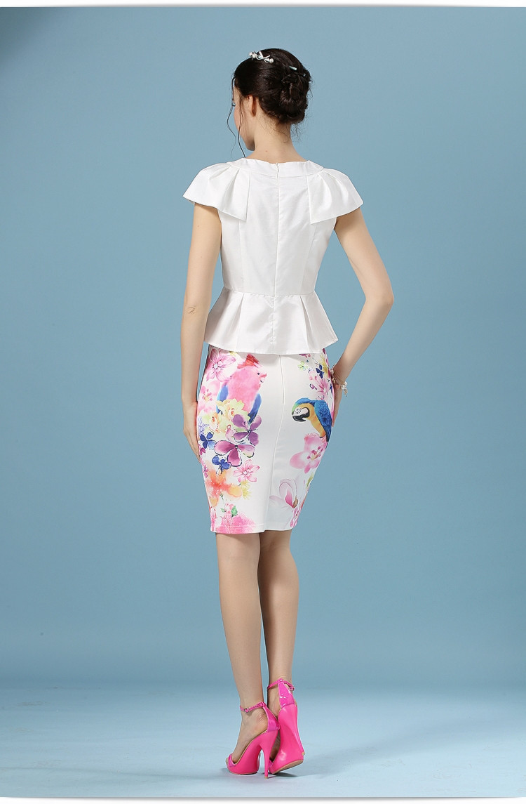 Elegant Office Pencil White Floral Bird Print High Waisted Skirt 13