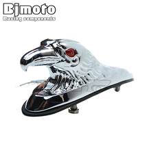 Chrome Eagle Head Ornament Statue with red lighted eye For Motorcycle motorbike ATV Front Fender Frames
