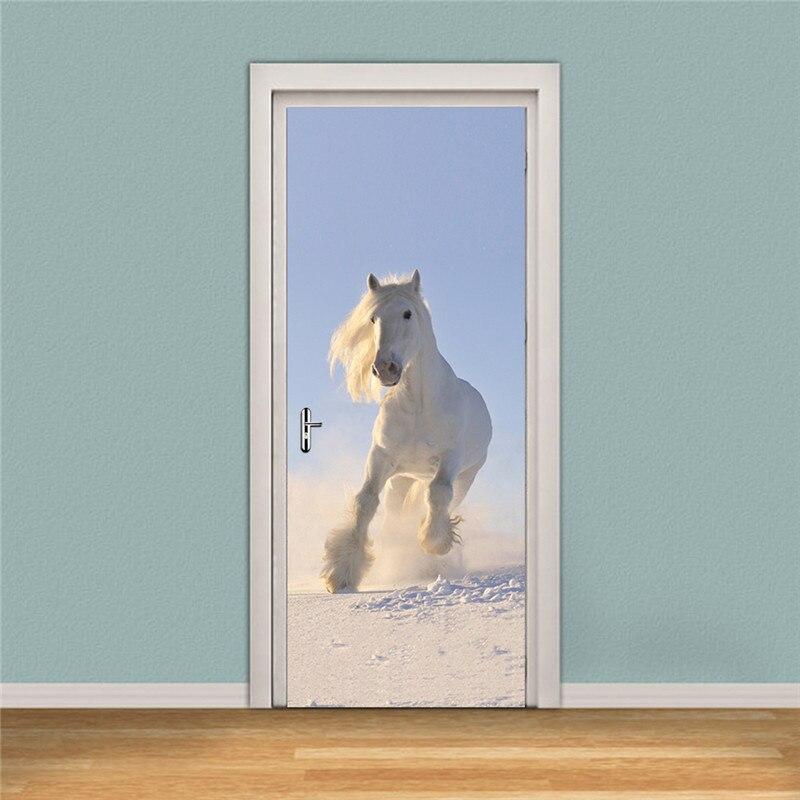 """Image 5 - 3d дверь настенная наклейки на обои Жираф Тигр Белая лошадь самоклеящийся декор из винила, съемный декор для двери 30,3x78,7""""-in Настенные наклейки from Дом и животные"""
