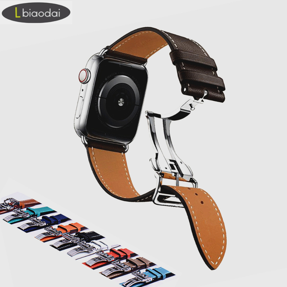 Leather Strap For Apple Watch Band 42mm 38mm Iwatch 4 Band 44mm 40mm Bracelet Deployment Buckle Watch Strap Watchband Hermes
