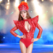 New Sexy Ladies Skinny Hot Red Flying Shoulder Bodysuit Nightclub Women Hollow Out Vintage Model Stage Show Leotard Costume