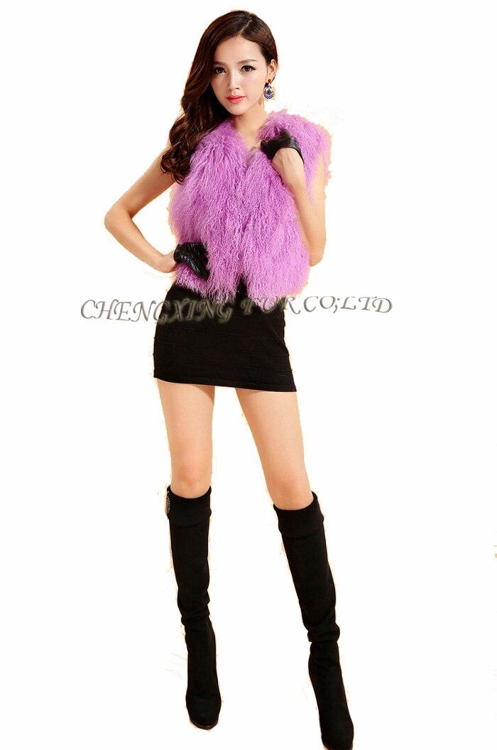 Cx-g-b-51genuine монгольского ягненка овец Мех животных жилет женские пикантные короткие жилет зимнее пальто Меховая куртка - Цвет: pink