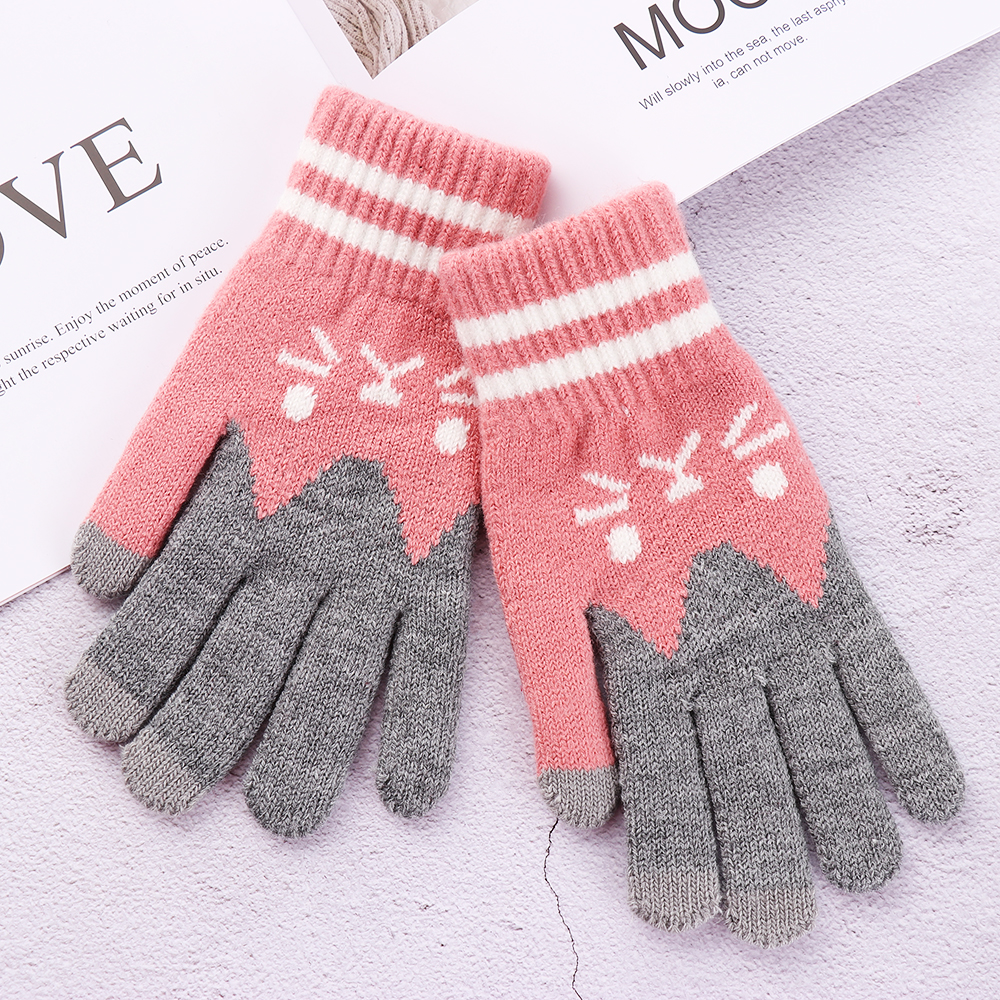 Women Girls Cute Cat Print Touch Screen Gloves Autumn Winter Warm Stretch Wool Knitted Full Finger Mittens Christmas Gifts