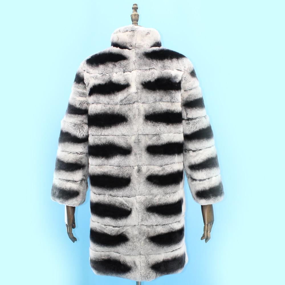 De 100 Réel Chinchilla Lapin Rex Montant Femmes Gratuite Color Chaud Livraison Manteau Couleur Hiver Fourrure Col EqUwz