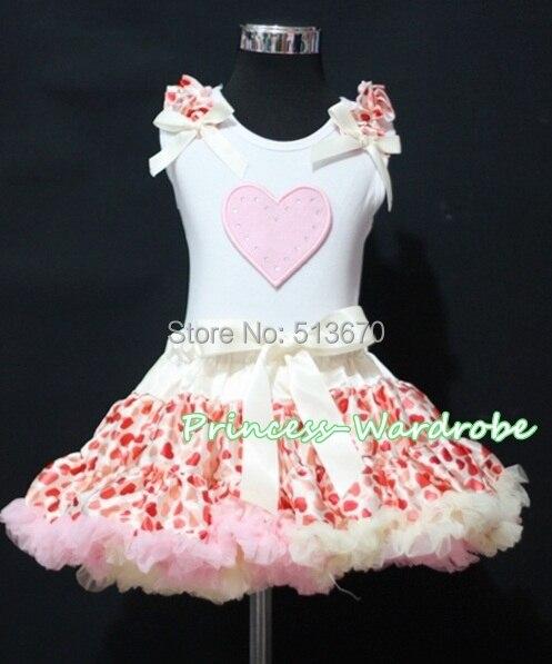 Valentine White Pettitop Top in Pink Ruffles Heart with Cream Pink Heart Pettiskirt 1-8Y MAPSA0256 white pettiskirt with patriotic america heart white ruffles