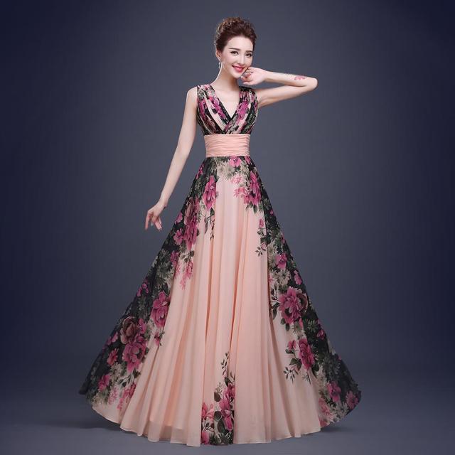 64d695c1135e4 3 Designs Evening Dresses Stock One Shoulder Flower Pattern Floral Print  Chiffon Evening Dress Gown Party Long Prom dresses 2017