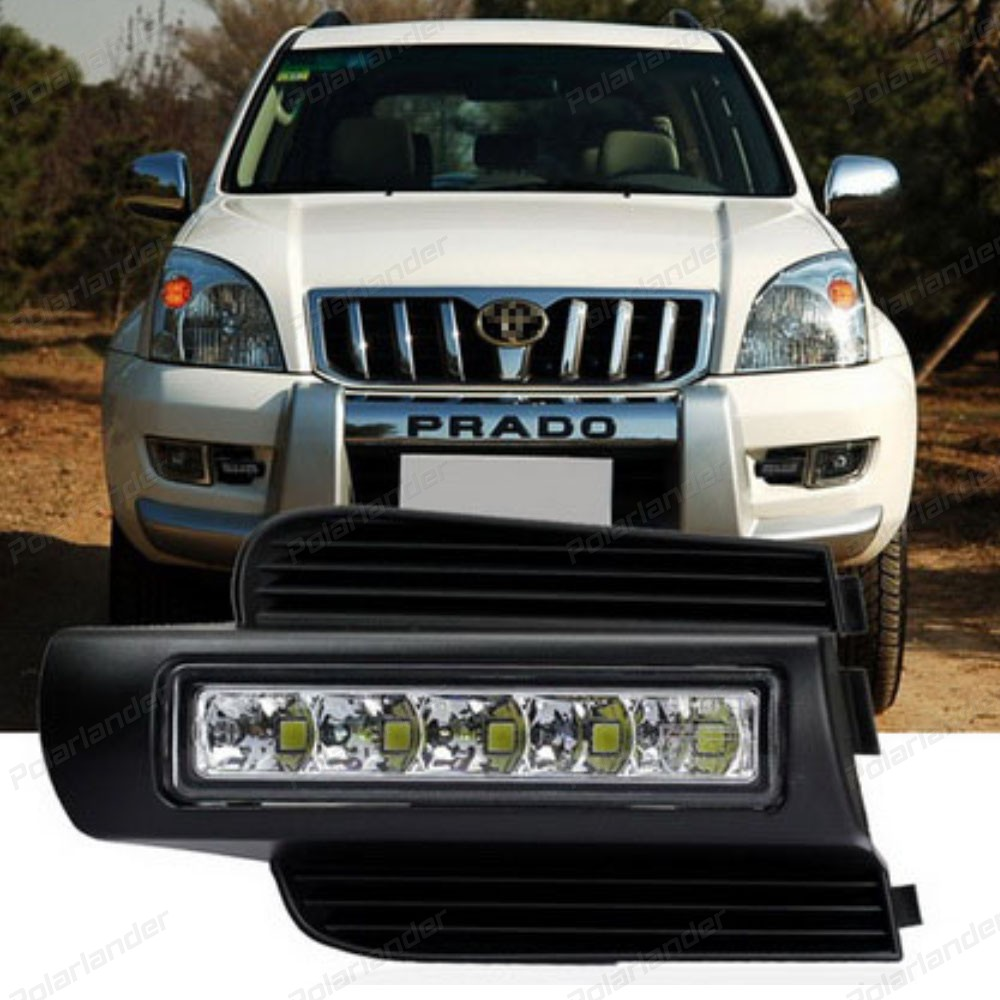 Accessories Parts For T/oyota P/rado 2003-2007LED Daytime Running Light Fog Lamp DRL Lights Car-Styling