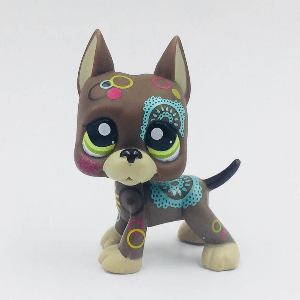 old rare little Dark brown great dane dog #1439 with colorful patterns green eyes animal original pet shop lps toys collection pet shop toys great dane 2598 green eyes pink dog dane child loose cute puppy