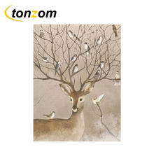 RIHE Deer With Bird Diy Painting By Numbers Abstract Animal Oil Painting On Canvas Cuadros Decoracion Acrylic Wall Art Gift rihe amused expression diy painting by numbers abstract cute cat oil painting on canvas cuadros decoracion acrylic wall art