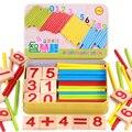 Ребенка математике игрушка Деревянная Палка Интеллект Образование Деревянные Игрушки Строительные Блоки Монтессори Математические Подарки в железный ящик