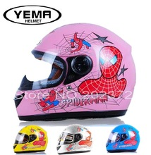 Spider-man children motorcycle helmet YEMA 205 child motorbike helmets made of ABS fit head circumference size less 54 cm