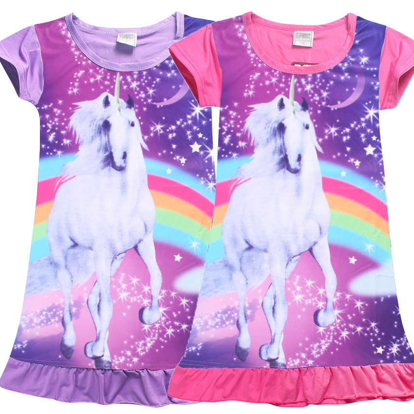 Kids Dressing Gowns Unicorn Girl Pijamas Kids Girl Polyester Toddlers Nightgowns Dress Summer Short Sleeve Infantil Sleepwear