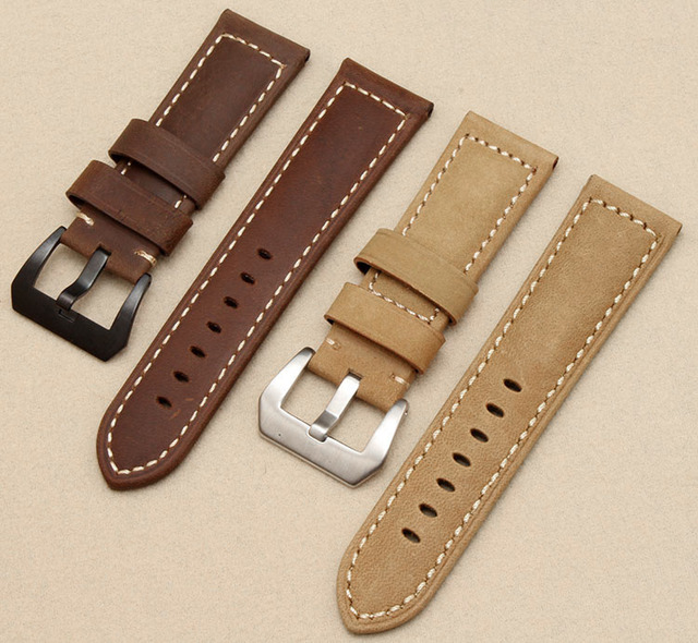 bab7a7f3b22 Dark brown waterproof leather watchbands watch strap silver metal pin  buckle watchbands for ruggedly watchband jpg