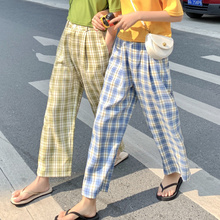 Vintage Chic holgado a cuadros pierna ancha Pantalones rectos de mujer Buttom coreano Punk Harajuku Ulzzang femenino lindo Vintage Kawaii Pantalones
