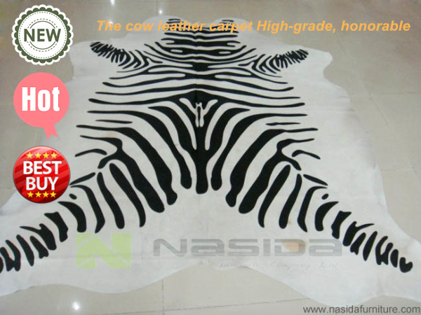 CL100 Black And White Fur Printing Throw Rugs Black And White Zebra Fur  Color Cowhide Rugs