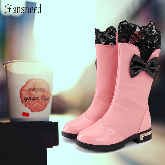 2017 Autumn and winter female child boots children shoes child cotton-padded shoes snow boots high boots