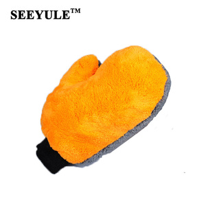 1pc SEEYULE Car Wash Glove double face coral fleece/coral velvet thicken Cleaning Cloth Water Absorption Detailing Dust cleaner