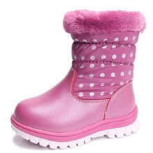 Kids boots real leather boys girls snow boots Non-slip Rubber boots Casual waterproof Children's Shoes girls plush winter boots