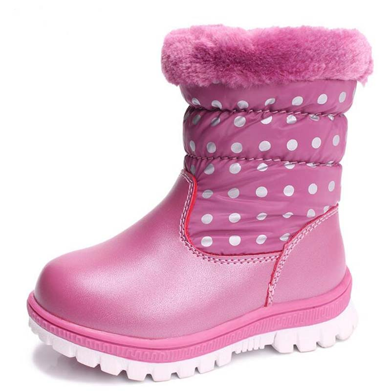 Kids boots real leather boys girls snow boots Non-slip Rubber boots Casual waterproof Childrens Shoes girls plush winter boots
