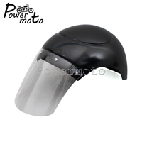 Free Shipping Universal Motorcycle Cafe Racer Headlight Fairing Windshield Fairing Mask Bullet Gloss Black For Harley Custom