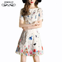 Sexy elegant Dress Women 2018 Summer new flower Girls Fashion lace embroidery Short sleeved hollow out female best friends