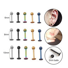 Sellsets 5pcs/lot 6/8/10mm 16G Surgical Steel Ball Labret Stud Lip Piercing Tragus Lobe Conch Forward Helix Cartilage Earrings(China)