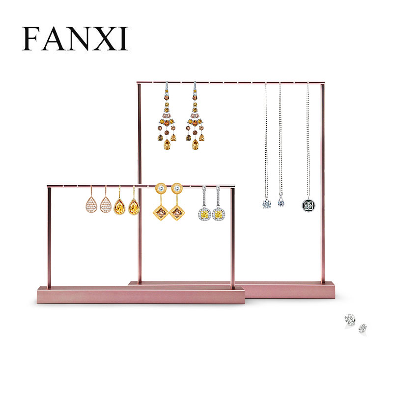 FANXI New Rose Gold Earring Display Stand Metal Shelf Necklace Pendant Holder Jewelry Display Stand Showcase
