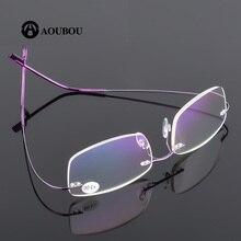 Безрамные очки из нержавеющей стали с эффектом памяти для чтения, Суперэластичные тонкие линзы, сверхлегкие+ 300 Вес 12 г, 7 цветов AB915