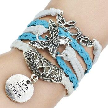 7 Colors 2017 New Fashion Leather Bracelets & Bangles Silver Owl Tree Love Bracelets for Women Men Hot Sale Fashion Jewelry 4