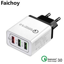 High Quality 5V/3A USB Charger Quick Charge 3.0 3 Port EU/US Mobile Phone Charger/Wall Chargers for iphone Xiaomi Samsung Huawei(China)