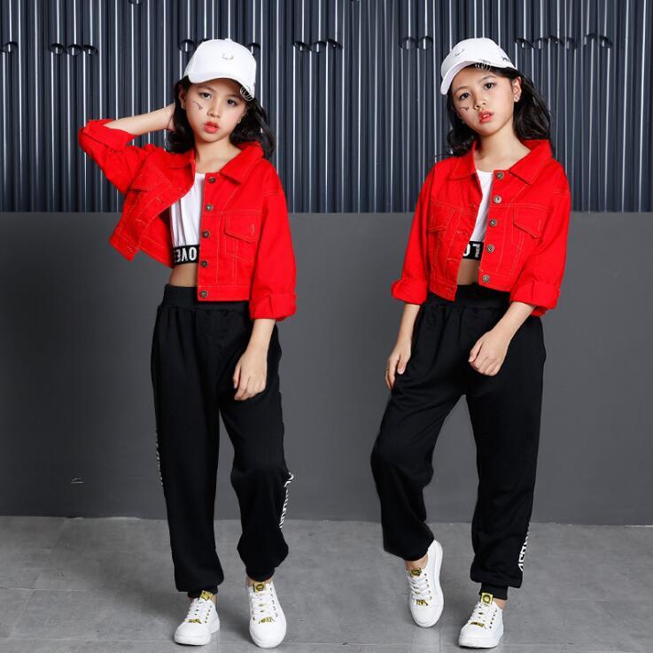 Teen Girls High Waist Outwear Coats Denim Jacket Jogger Pants T Shirt Hip Hop Clothing Jazz Dance Costumes Kids Dancing Clothes