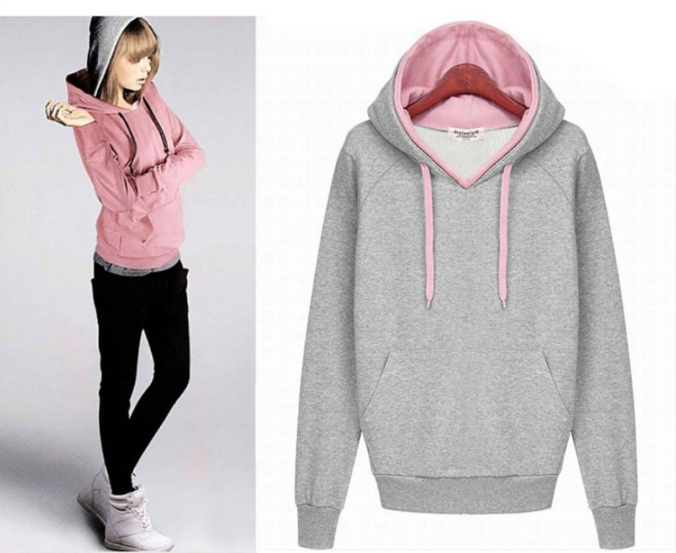 2019 Double Contrast Color Hooded Pullovers Women Autumn Winter Fleece Warm Hoodies Solid Color Casual Cotton Sweatshirt 01