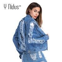 Y Nidus Women Denim Jacket Broken Hole Jean Jackets 2019 Vintage Female Button Plus Size Coat Pocket Harajuku Jacket Streetwear