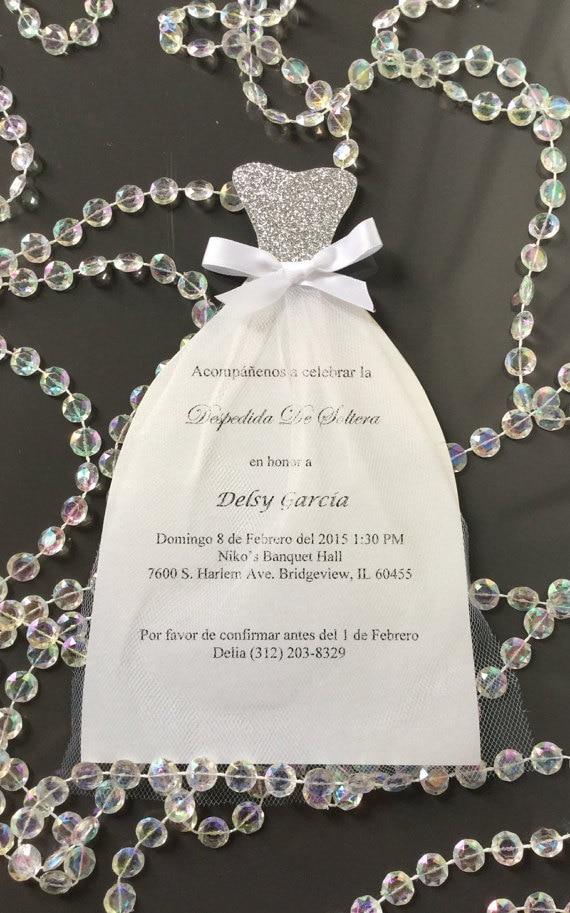 Silver glitter Bridal Shower wedding dress invitation CA0665-in ...