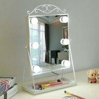 Принцесса светодиодный LED макияж зеркало с лампочкой дома Настольный Органайзер красота заполнить свет зеркальный стол украшения mx12281553