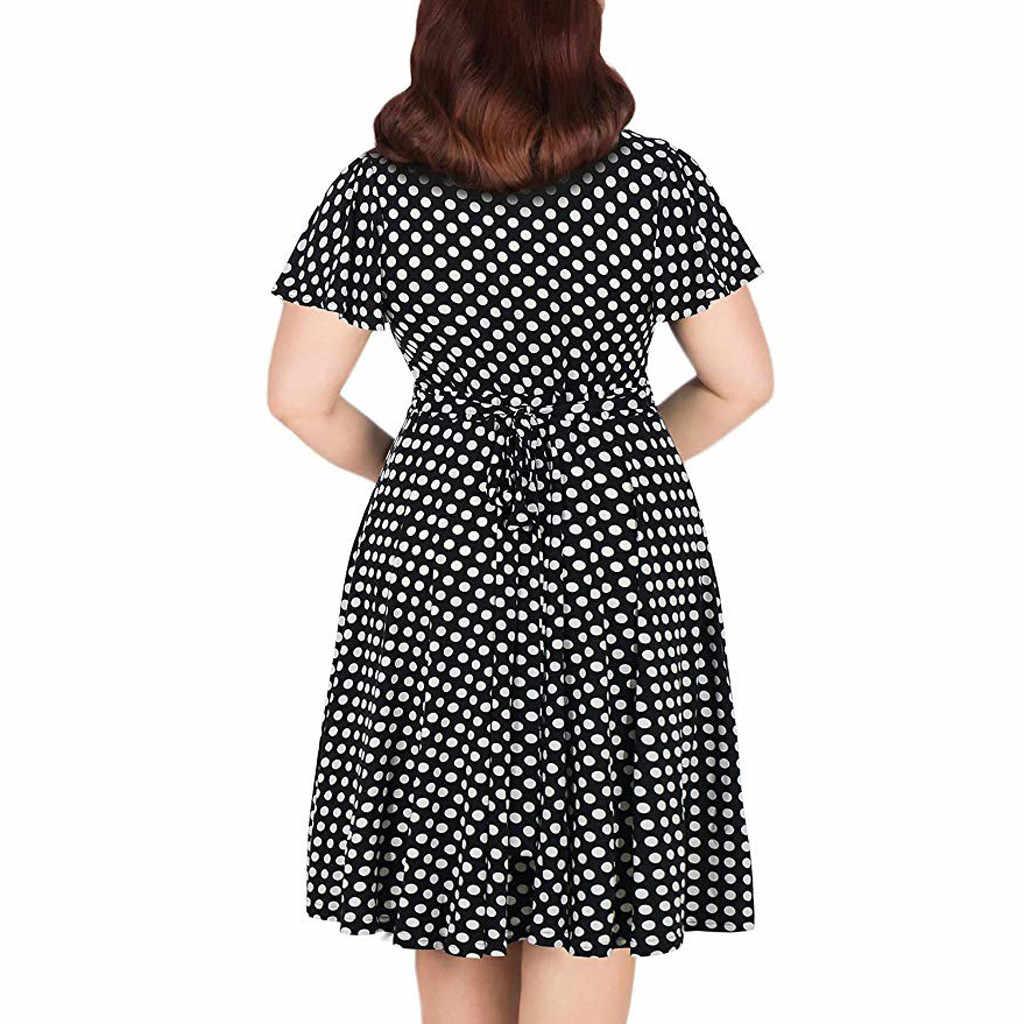 Büyük Boy 5XL yaz elbisesi Kadınlar Için Zarif Puantiyeli Baskılı Maxi Uzun Elbiseler Casual V Boyun Kısa Kollu Yüksek Kemerler vestidos