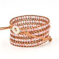 Asingeloo Natural Stone Crystal Beads Bohemia Leisure Rose Pink Quartz Charm Bracelet for Women Girl Adjustable