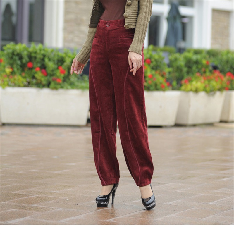 Spring and autumn season cashmere   pants   was thin lantern   pants   casual   pants   loose large size   pants   corduroy   wide     leg     pants