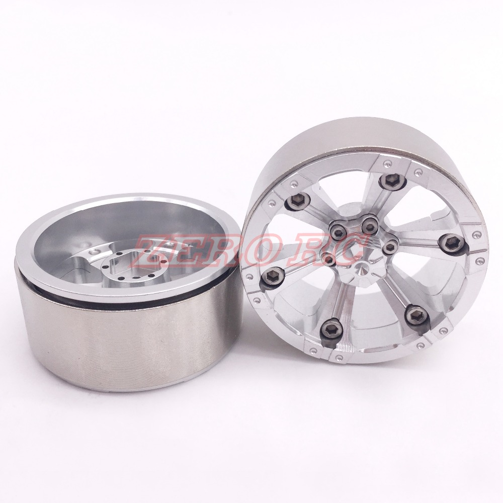 2 Special Section Rock 1.9 Aluminum Beadlock Wheel Rim Silver For 1/10 Rc Crawler Rc4wd D90 Axial Scx10 Tamiya Cc01 Truck