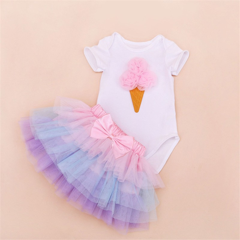 Tutu Baby Birthday Set Summer Short Sleeve Roupas Infantis Bebes 1st Birthday Outfit+Tutu Pettiskirt Dress Party Clothing Sets 2