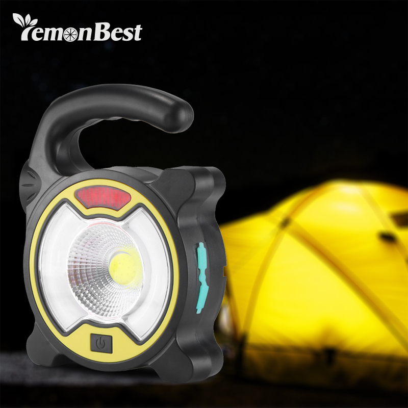 COB LED work light portable Multifunctional USB Rechargeable Solar charging 2400 lumen camping outdoor emergency etc.