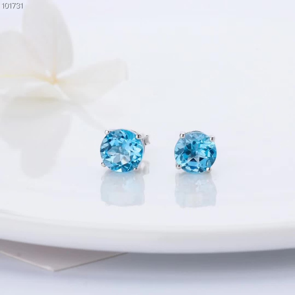 new-designed trendy gemstone jewelry 925 sterling silver natural blue topaz charm stud earrings for women