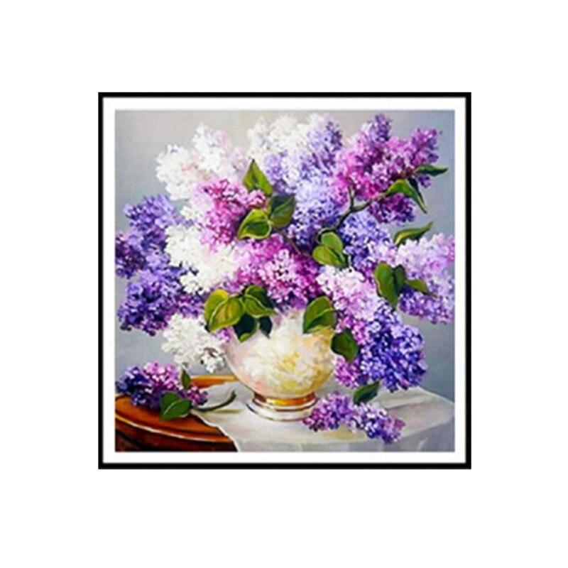 DIY 5D Diamond Embroidery Diamond Painting Cross Stitch Mosaic Purple Lilac Flowers Round Diamond Home Decor Needlework Gift
