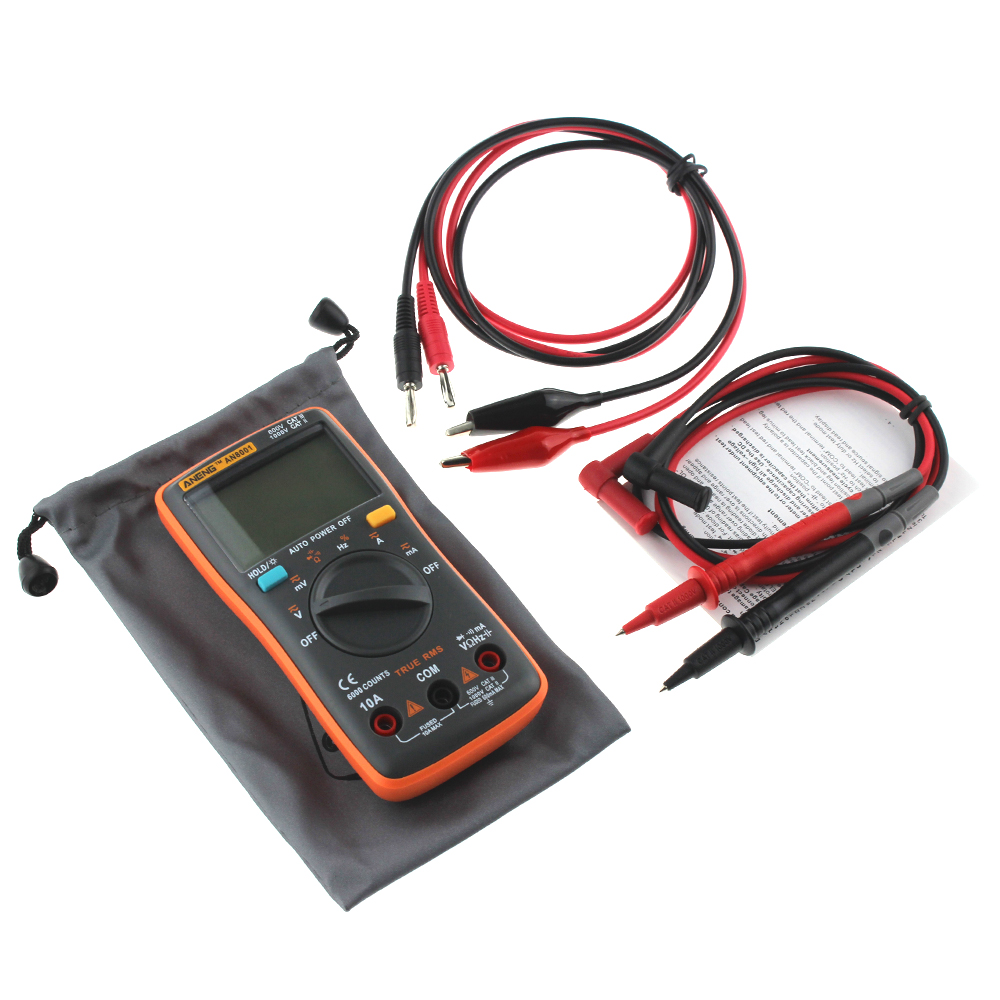 ANENG AN8001 Digital Multimeter 6000 counts Backlight AC/DC Ammeter Voltmeter Ohm Alligator clip jumper wire test lead