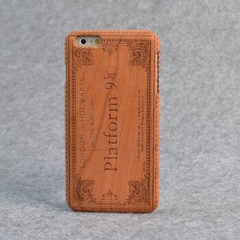 Harry Potter Nouvelle marque Rétro Naturel Réel 100% bois massif téléphone portable étui pour iphone 6 s 7 8 plus X couverture en bois