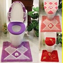 3 Pcs/ensemble Violet Rose Grille Couverture Souple Siège De Toilette Pot Pad Salle De Bains Wc Tapis Toilette Ensemble Coussin en forme de U pardessus Toliet Cas