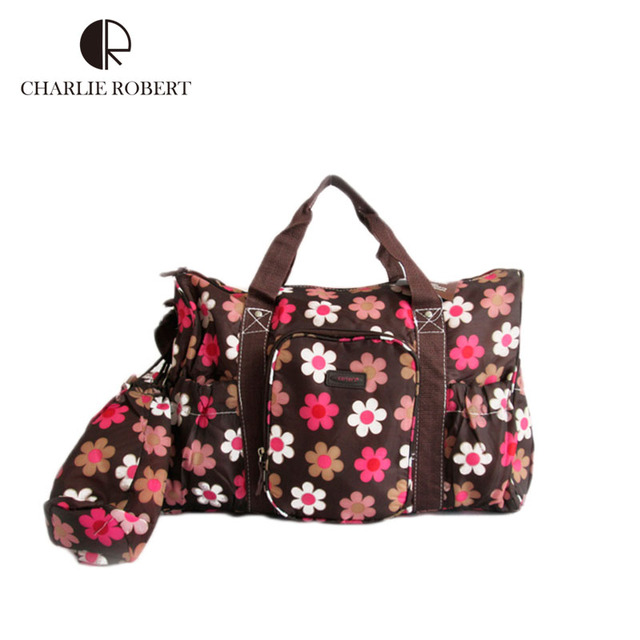 Wholesale Brand multilayer diaper bag nappy bag for mommy and baby multifunctional flower baby changing bag Mother Bag HK366
